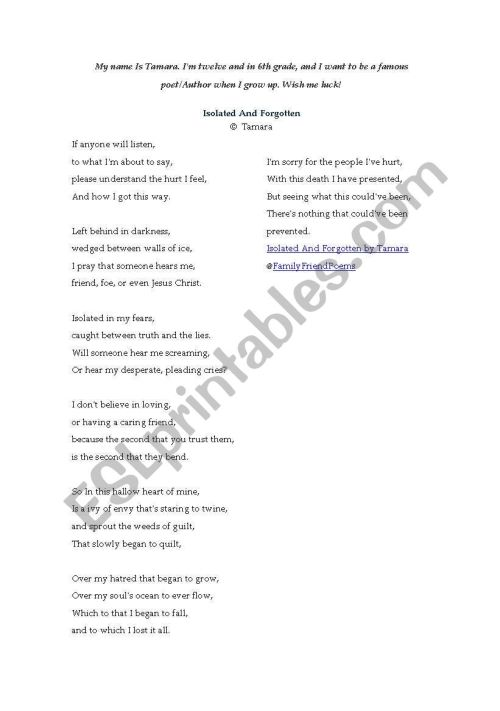 small resolution of English worksheets: analysing a sarcastic poem