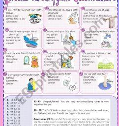 Personal Care\u0026Hygiene Questionnaire - ESL worksheet by cuneiform [ 1169 x 821 Pixel ]