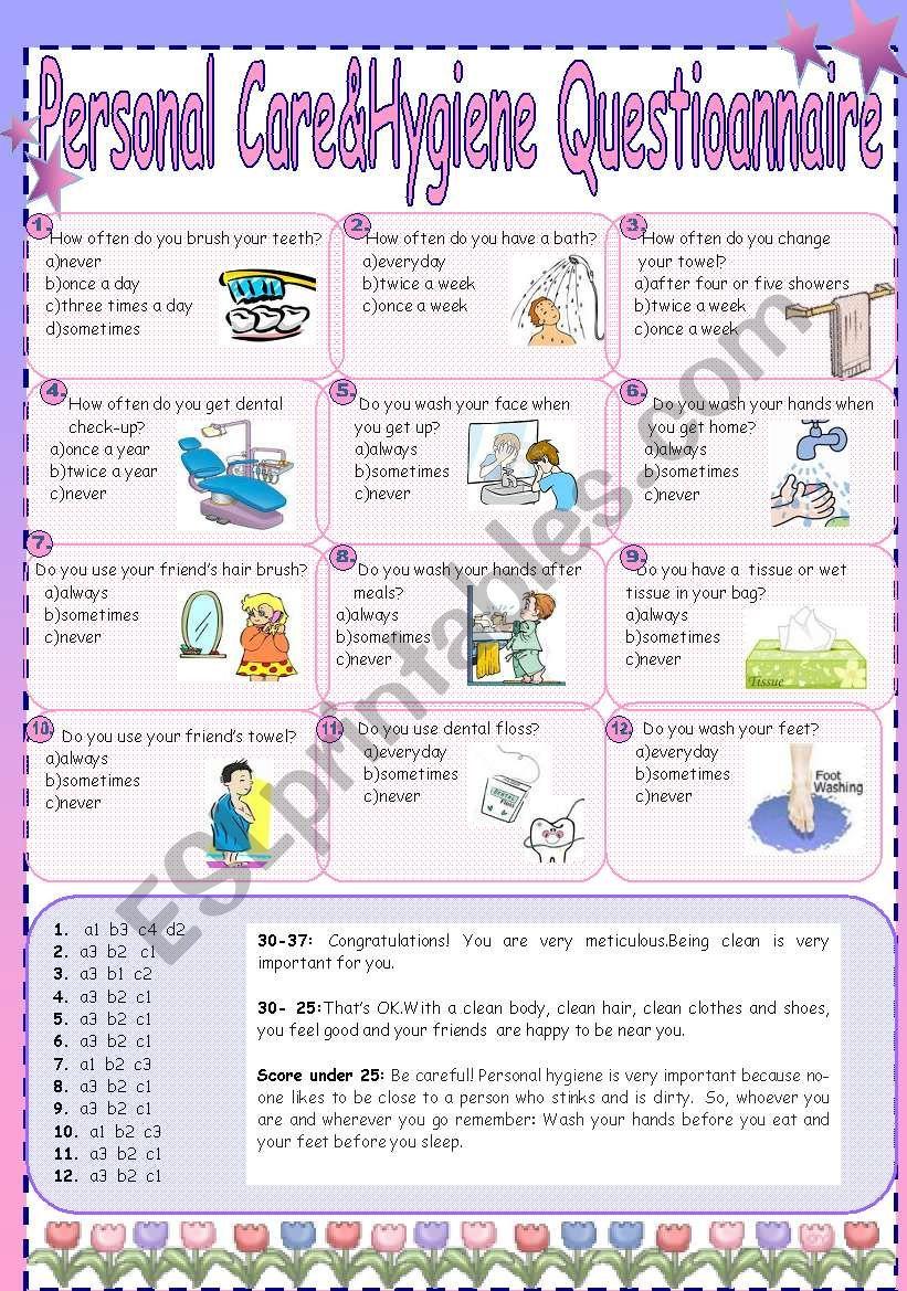 medium resolution of Personal Care\u0026Hygiene Questionnaire - ESL worksheet by cuneiform