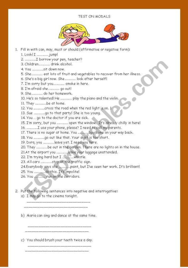 English Worksheets - Revision Worksheet