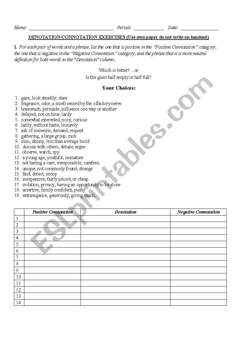 hight resolution of Denotation And Connotation Worksheet Answers - Nidecmege