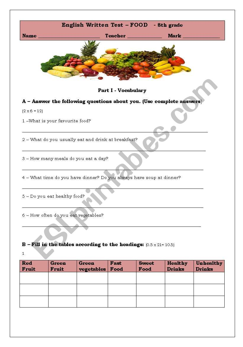 hight resolution of Test about Food - ESL worksheet by tancredo