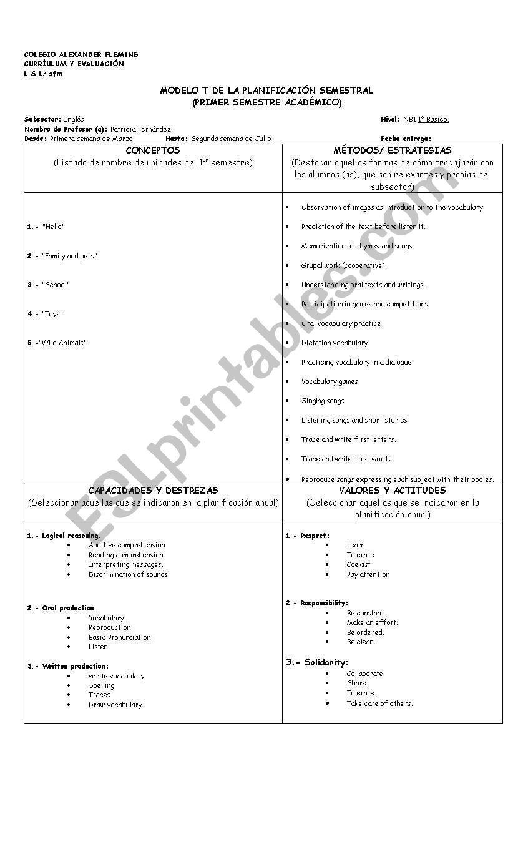 medium resolution of First grade Lesson plan (six months) - ESL worksheet by pifernac