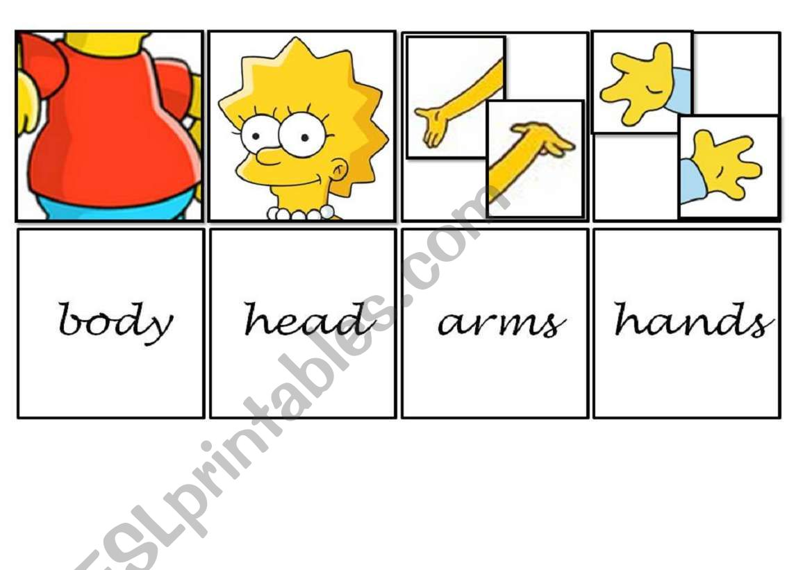 Memory Cards To Practise Parts Of The Body With The