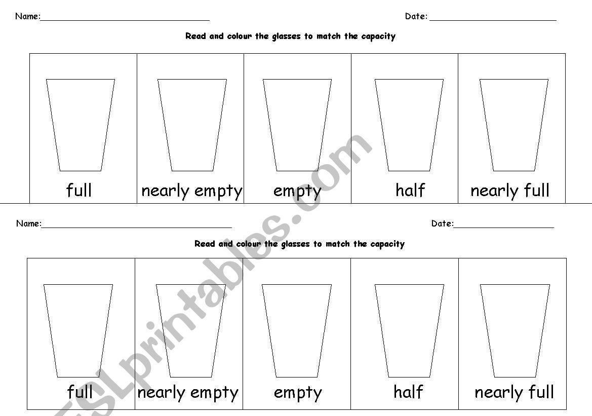 English Worksheets Capacity
