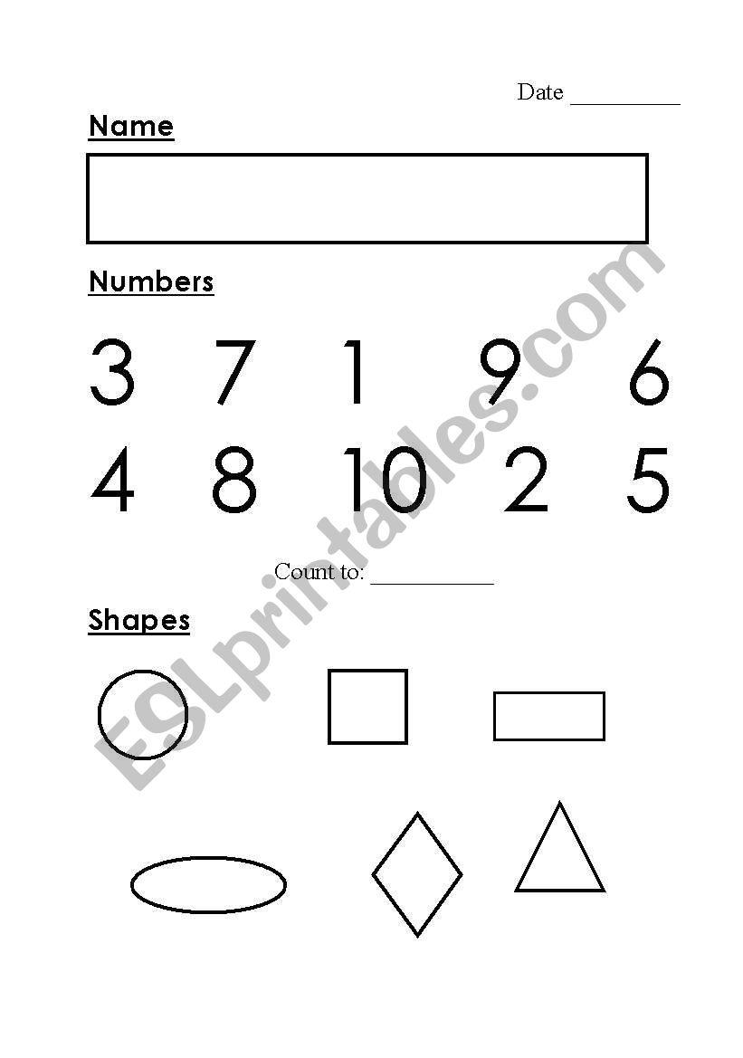 English worksheets: Kindergarten Assessment