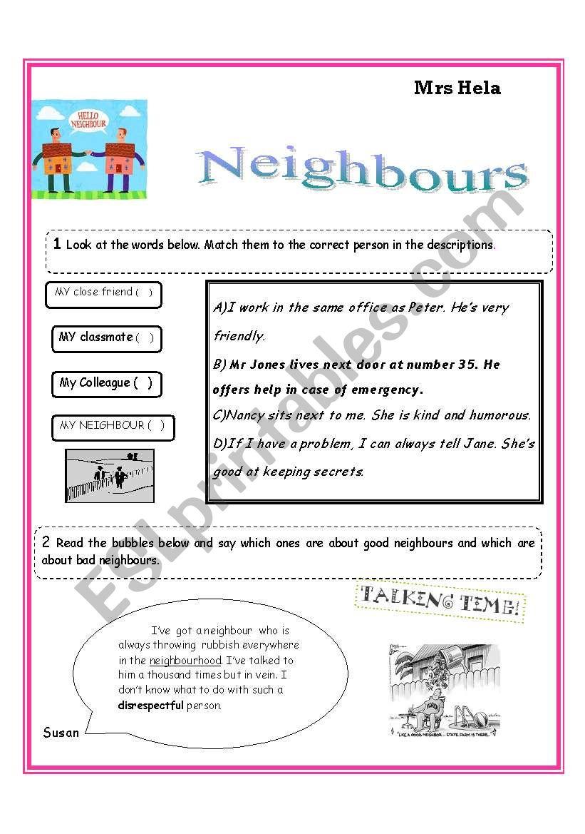 hight resolution of Are Neighbours Necessary? - ESL worksheet by ammouna 27