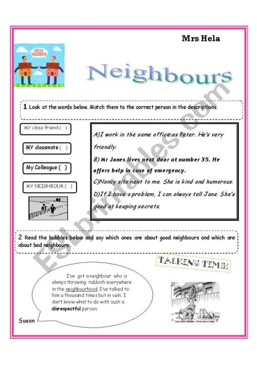 small resolution of Are Neighbours Necessary? - ESL worksheet by ammouna 27