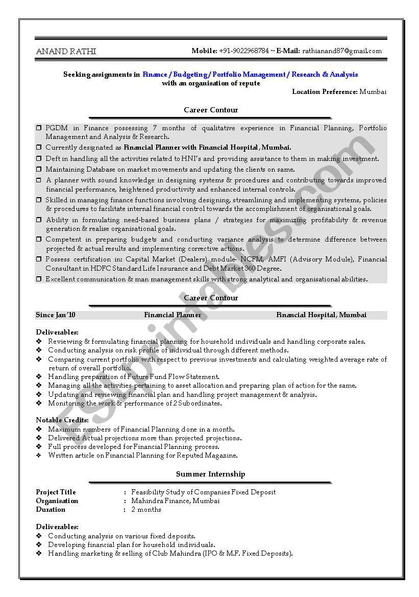 English worksheets: CV format