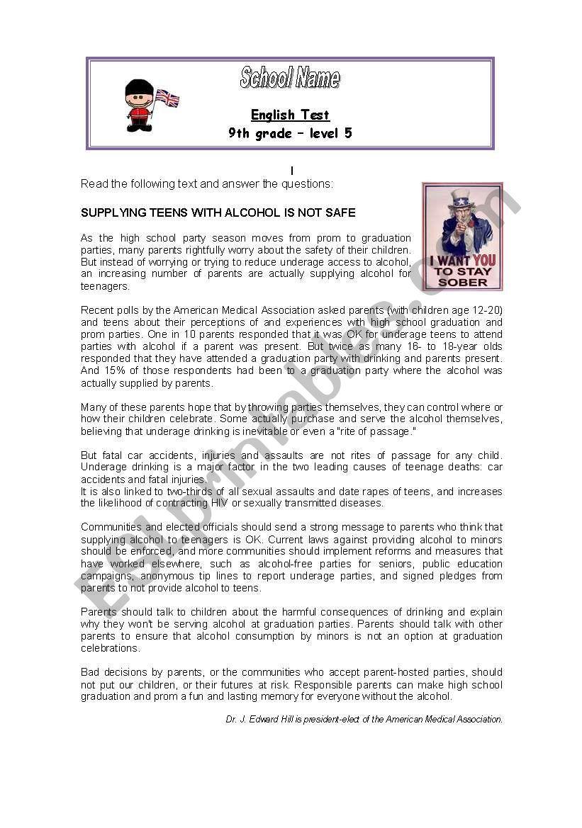 medium resolution of Test 9th grade - ESL worksheet by mariavaz