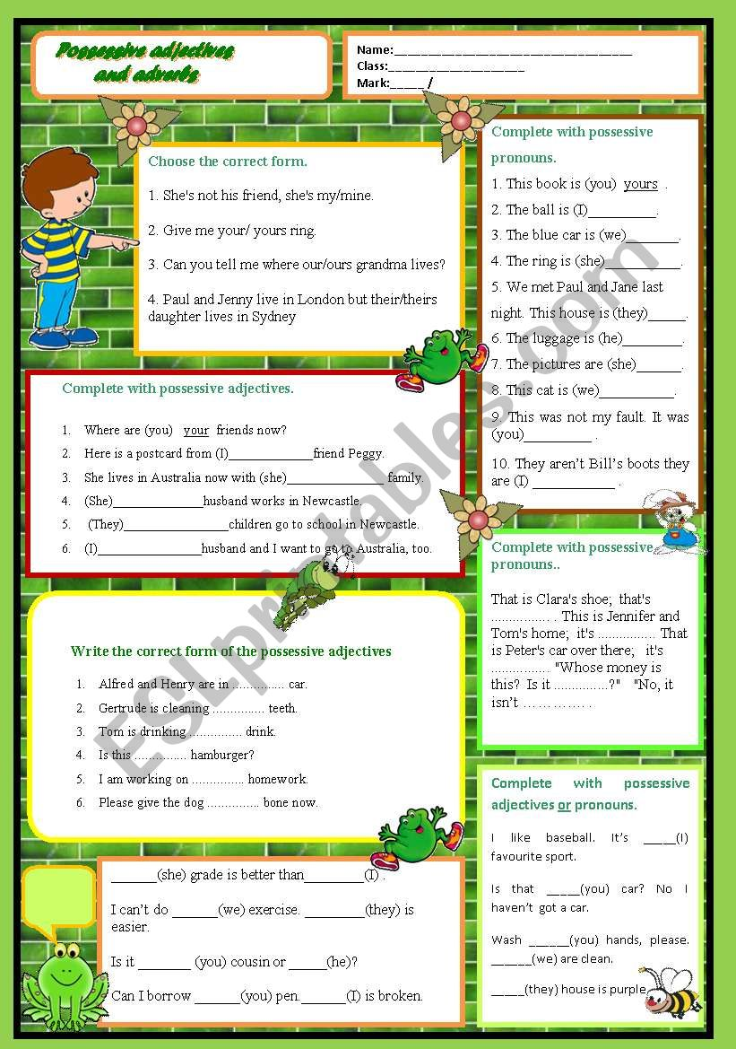 medium resolution of Possessive adjectives vs. possessive pronouns - ESL worksheet by kobe0211
