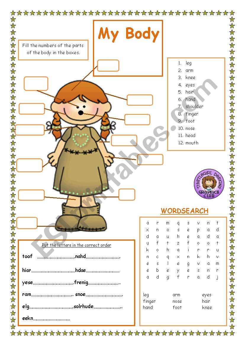 medium resolution of Parts of the Body - ESL worksheet by Jackie1952