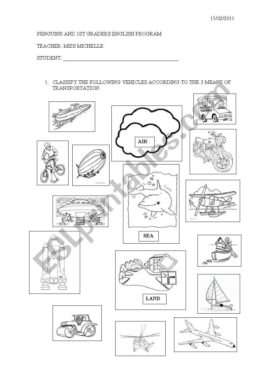 English worksheets: Transport classification