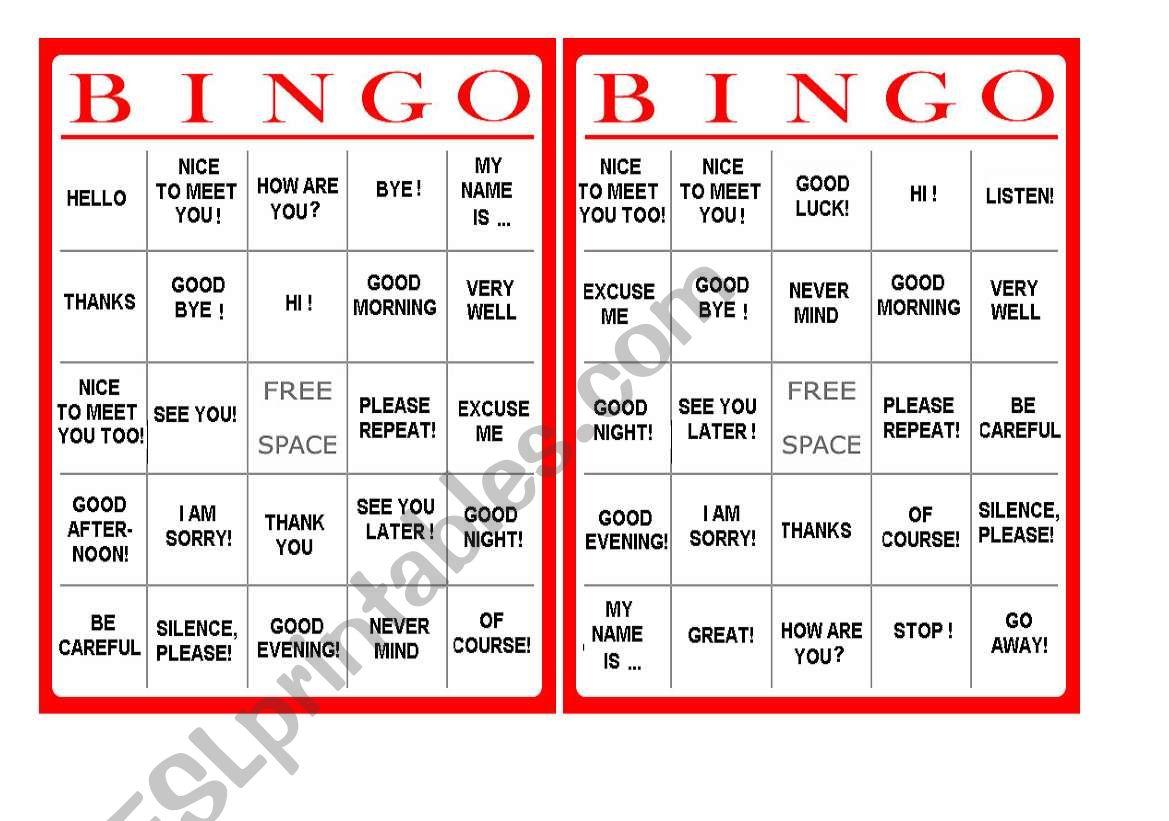 Greetings Bingo