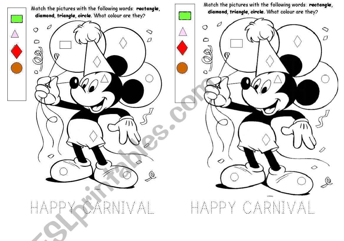 Happy Carnival Colour By Shapes Kindergarten Pre School