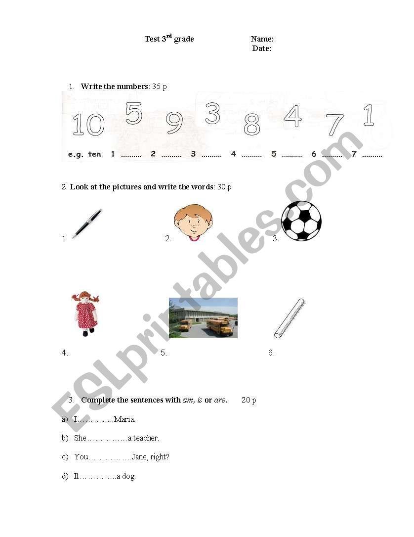 English worksheets: Progress test 3rd grade