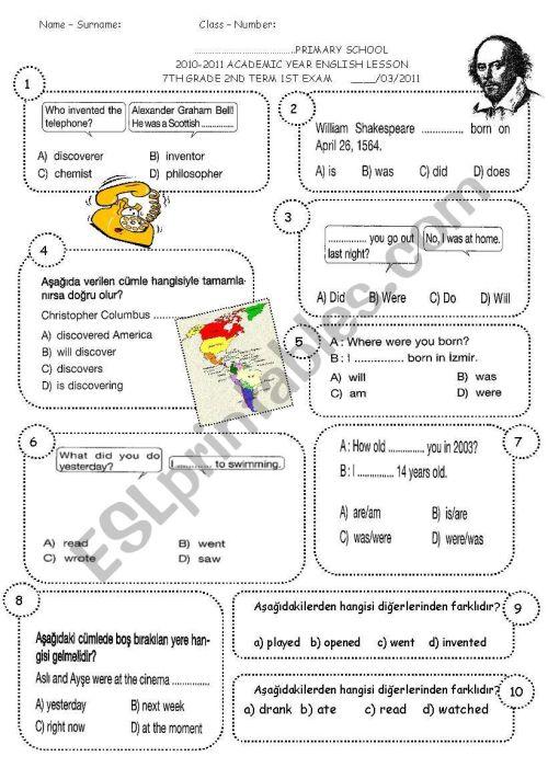 small resolution of 7th grade 2nd term 1st exam (SPRING 7) - ESL worksheet by sevim-6