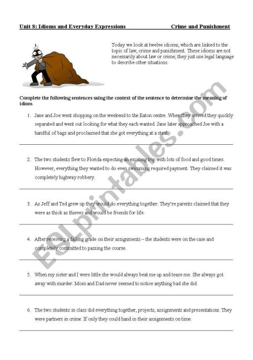 small resolution of Punishment + Crimes Idioms Worksheet - UPDATED more Advanced - ESL worksheet  by jamespeever