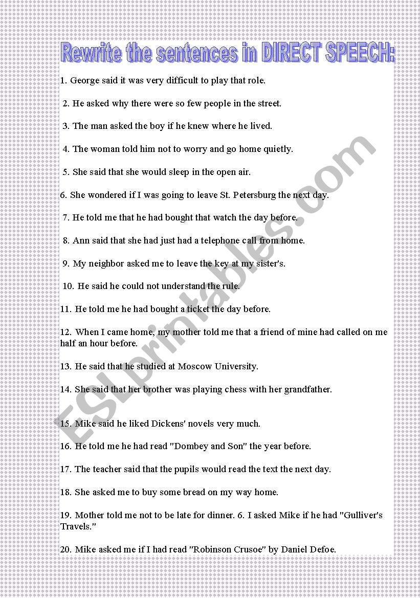 hight resolution of REPORTED SPEECH