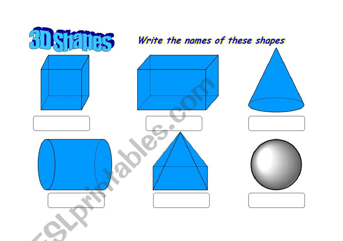 3d Geometric Shapes Printable Worksheet