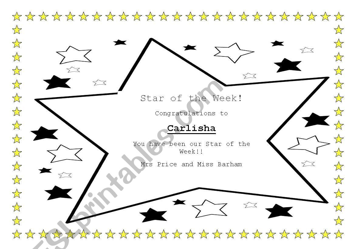English Worksheets Star Of The Week Certificate