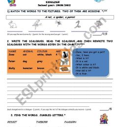 2nd term TEST 4th grade - ESL worksheet by lidija [ 1169 x 821 Pixel ]