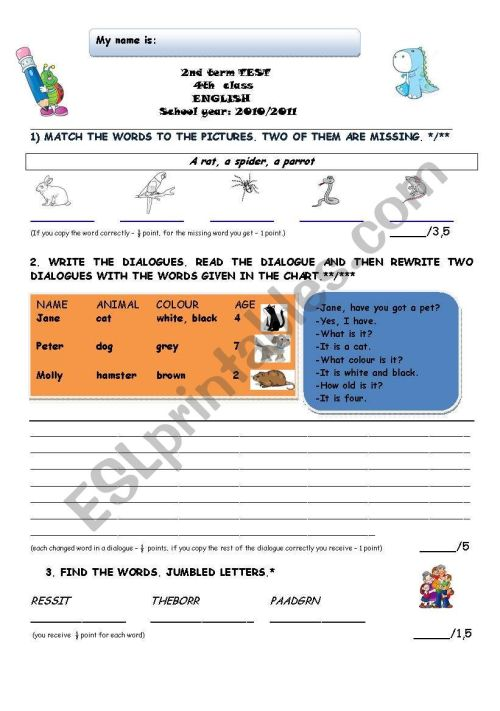 small resolution of 2nd term TEST 4th grade - ESL worksheet by lidija