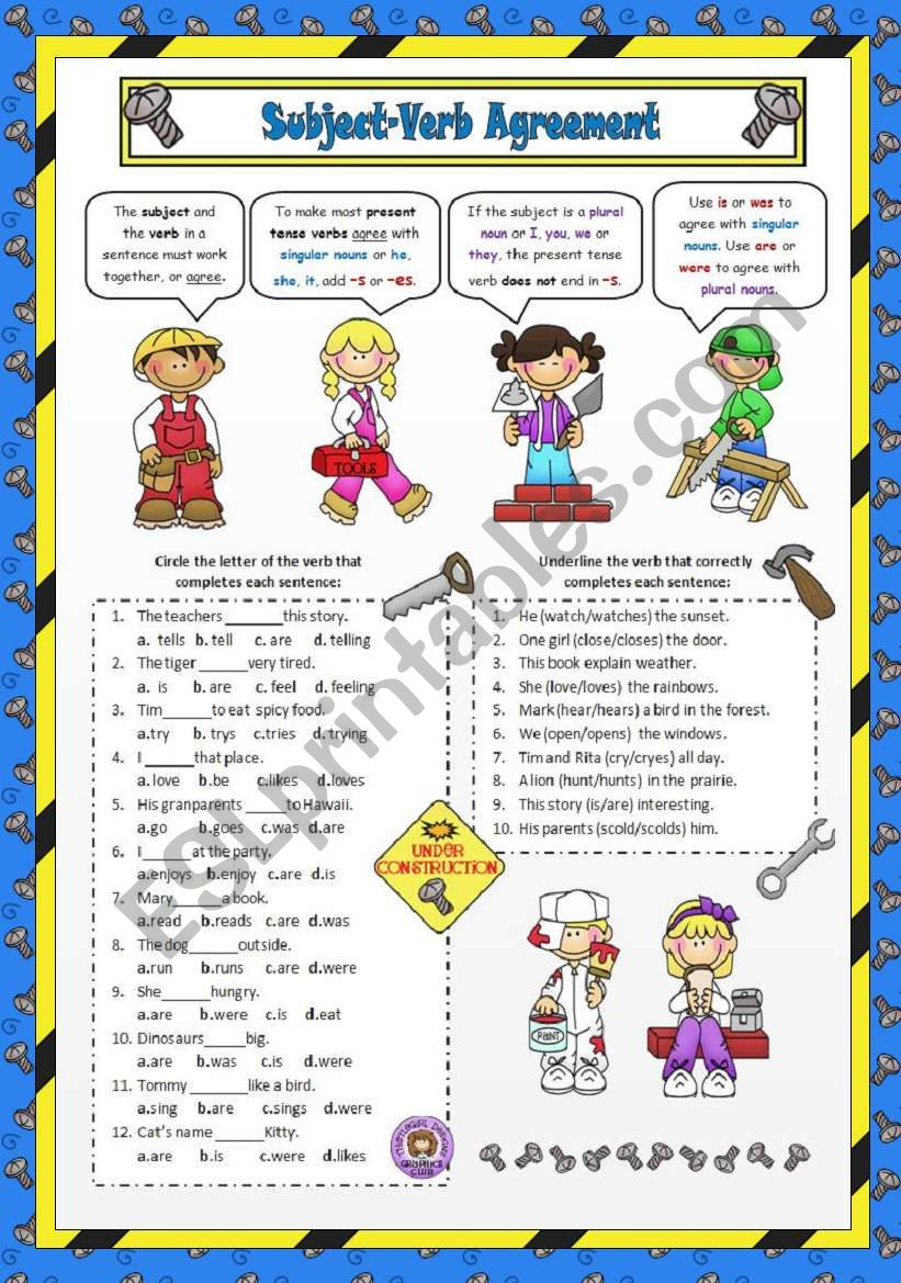 medium resolution of Subject-Verb Agreement - ESL worksheet by VaneV