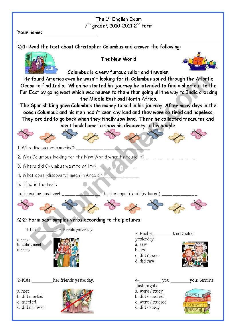 medium resolution of 7th Grade Exam (comprehension and Grammar) - ESL worksheet by DeGeneres