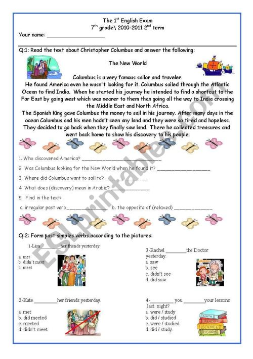 small resolution of 7th Grade Exam (comprehension and Grammar) - ESL worksheet by DeGeneres