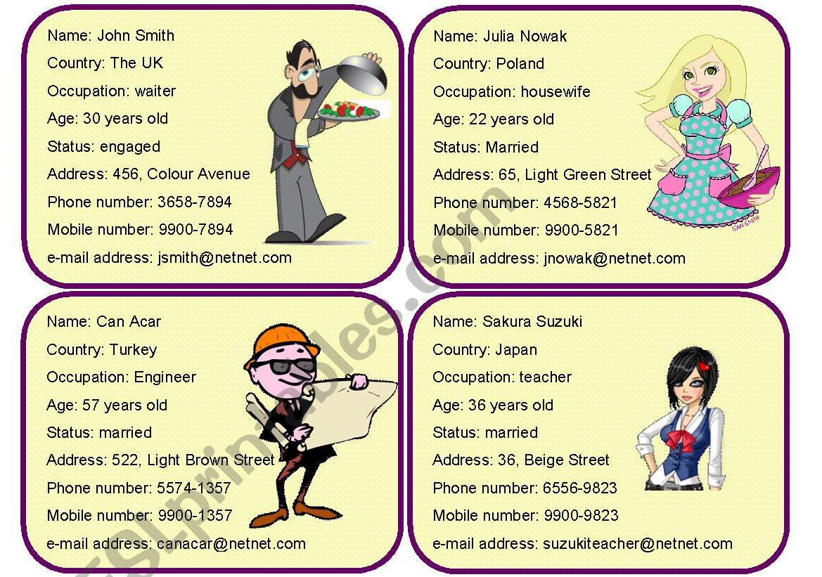 Personal Information Cards 4 4