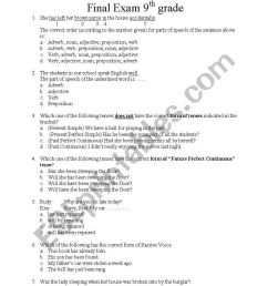 English worksheets: 9th grade final exam [ 1086 x 838 Pixel ]