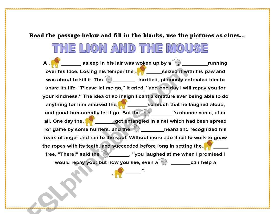 English Worksheets Reading The Lion And The Mouse