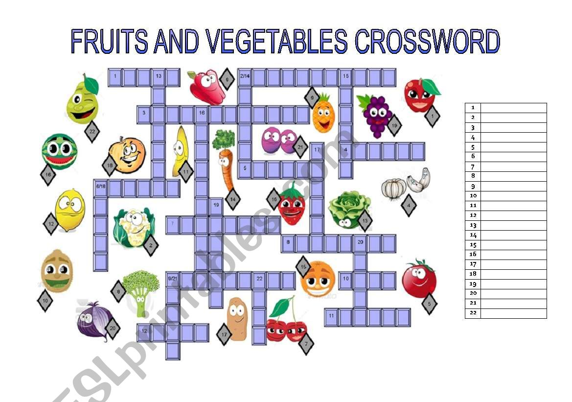 Fruits And Vegetables Crossword
