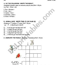 English worksheets: Numbers-Animals-HAVE GOT/HAS GOT-Lessons-Weekly  Schedule Sample Exam and/or Worksheet [ 1169 x 821 Pixel ]