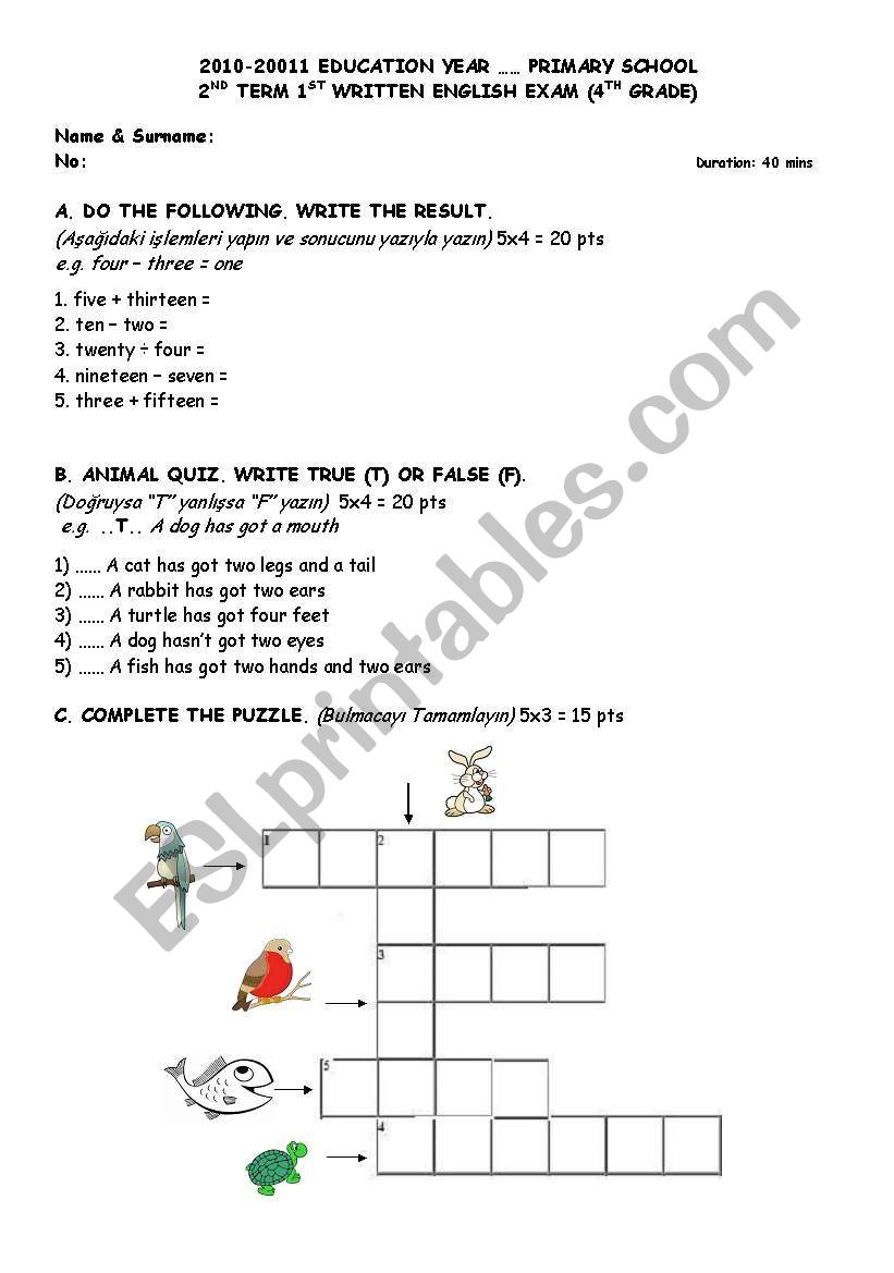 medium resolution of English worksheets: Numbers-Animals-HAVE GOT/HAS GOT-Lessons-Weekly  Schedule Sample Exam and/or Worksheet