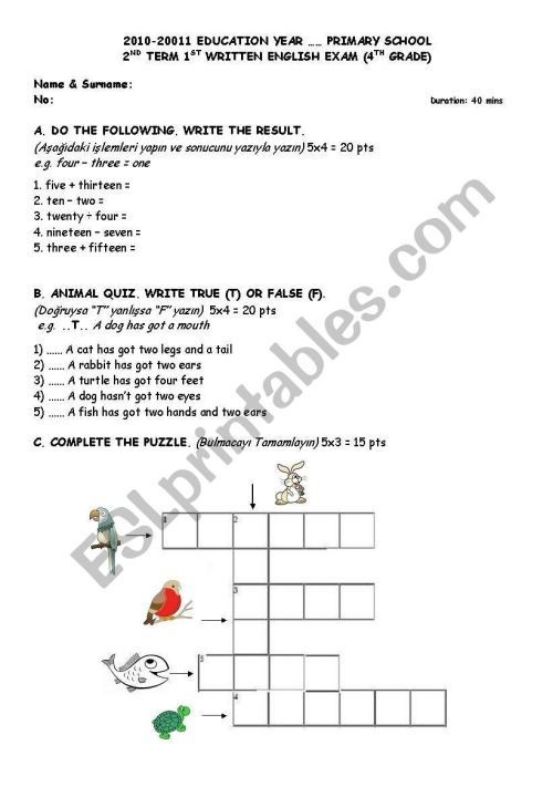 small resolution of English worksheets: Numbers-Animals-HAVE GOT/HAS GOT-Lessons-Weekly  Schedule Sample Exam and/or Worksheet
