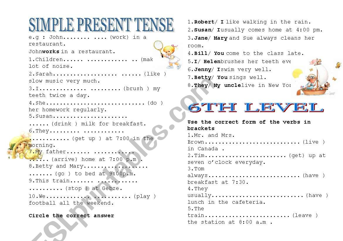 hight resolution of simple present tense - ESL worksheet by marietazi