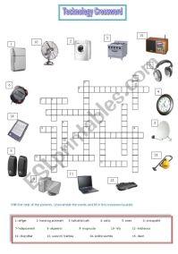 Technology crossword - ESL worksheet by belabed5