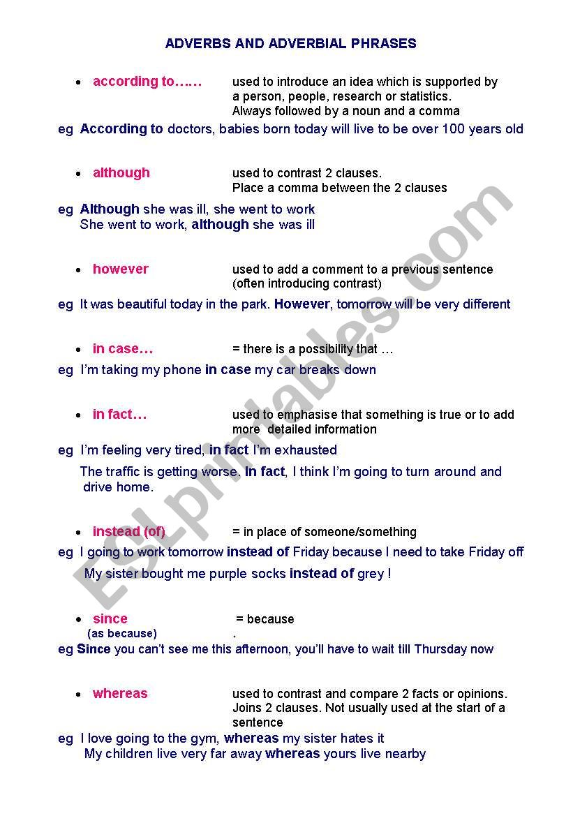 hight resolution of ADVERBIAL PHRASES - ESL worksheet by Caroline2