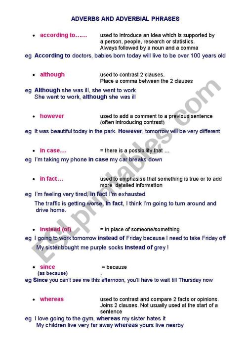 small resolution of ADVERBIAL PHRASES - ESL worksheet by Caroline2