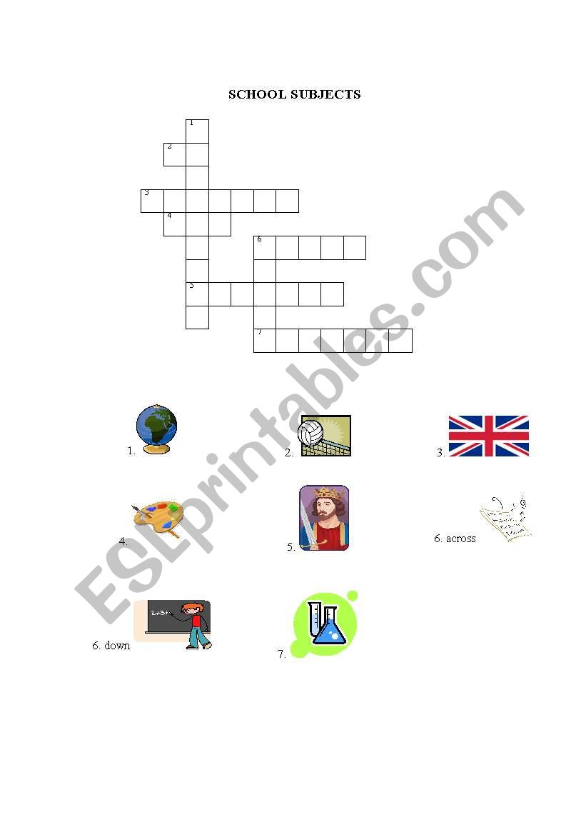 English Worksheets School Subjects Crossword