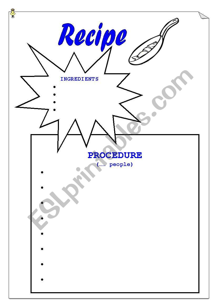 English worksheets: Recipe template