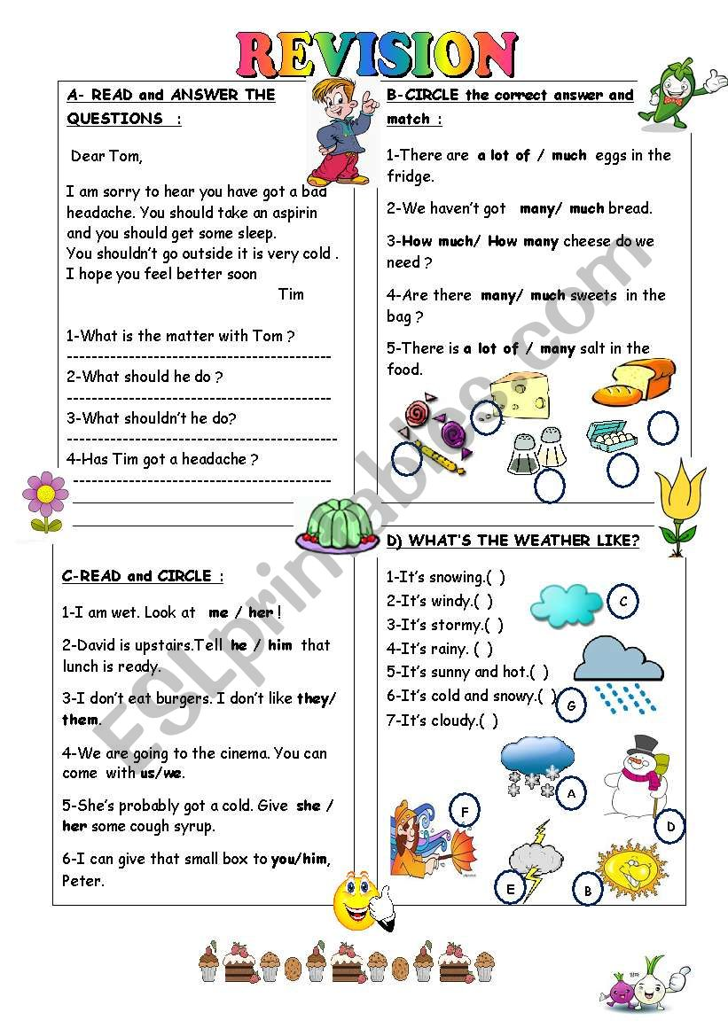 hight resolution of REVISION FOR THE 4TH GRADE - ESL worksheet by duygu2