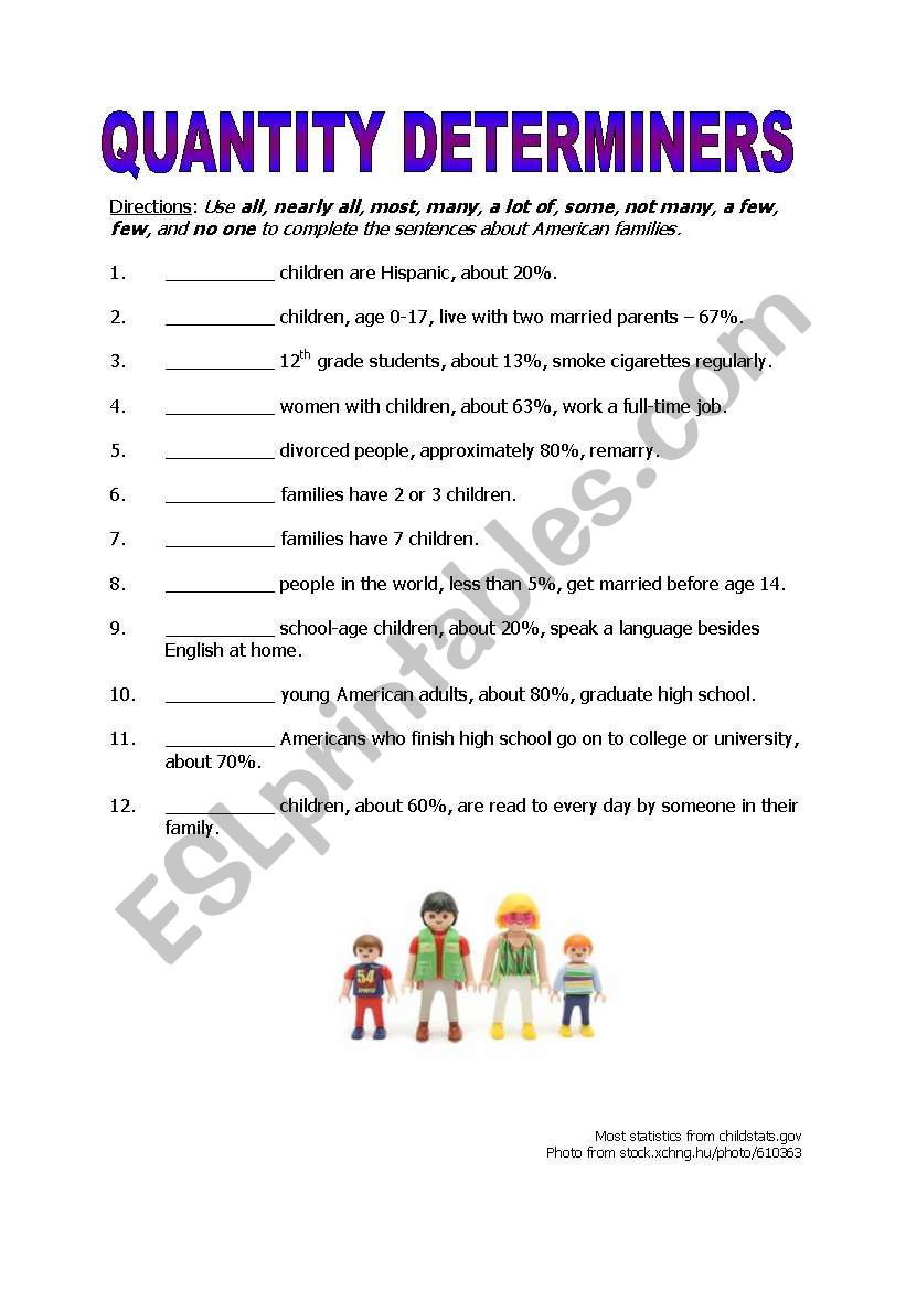 hight resolution of Quantity Determiners - ESL worksheet by gofish343