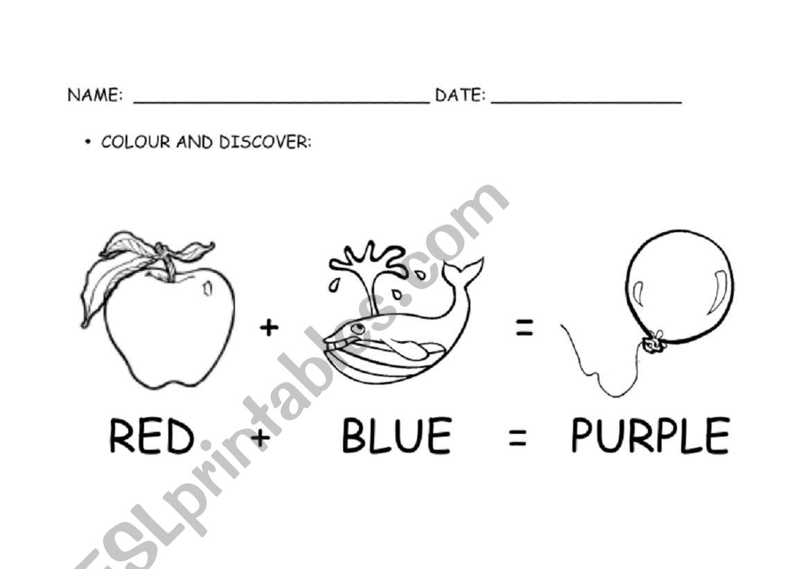 English Worksheets Primary Colours