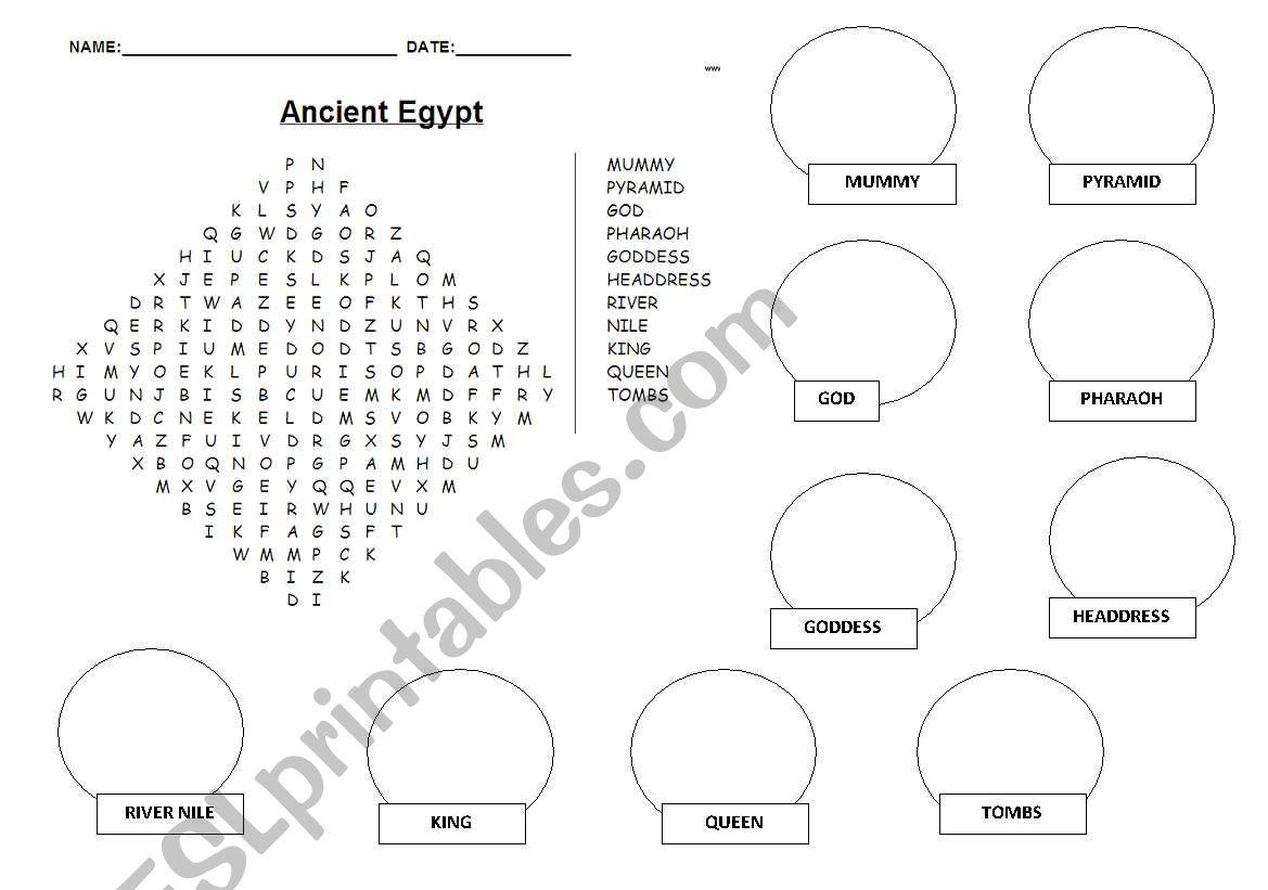 English Worksheets Ancient Egypt