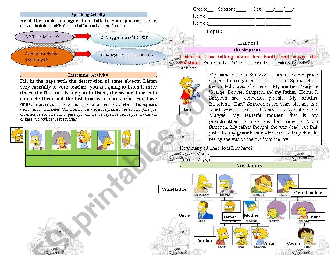 The Simpsons Family Vocabulary And Possesive