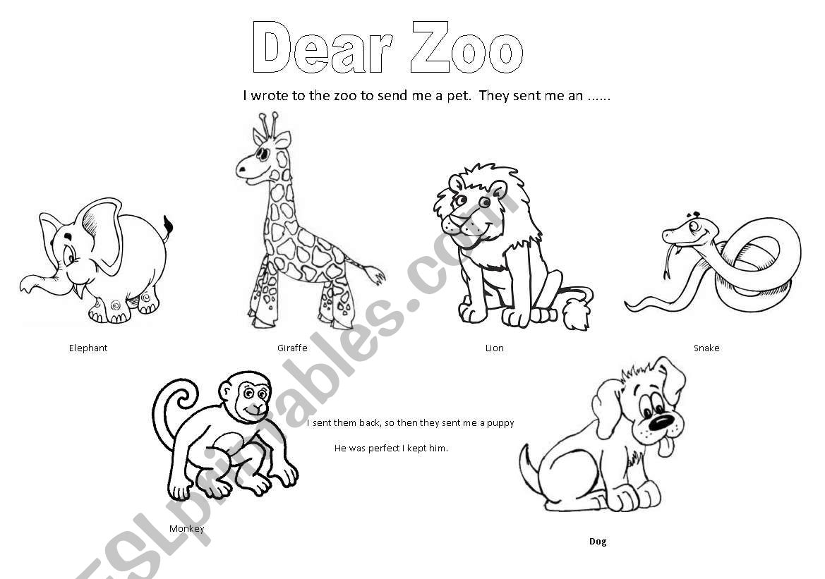 English worksheets: Dear Zoo