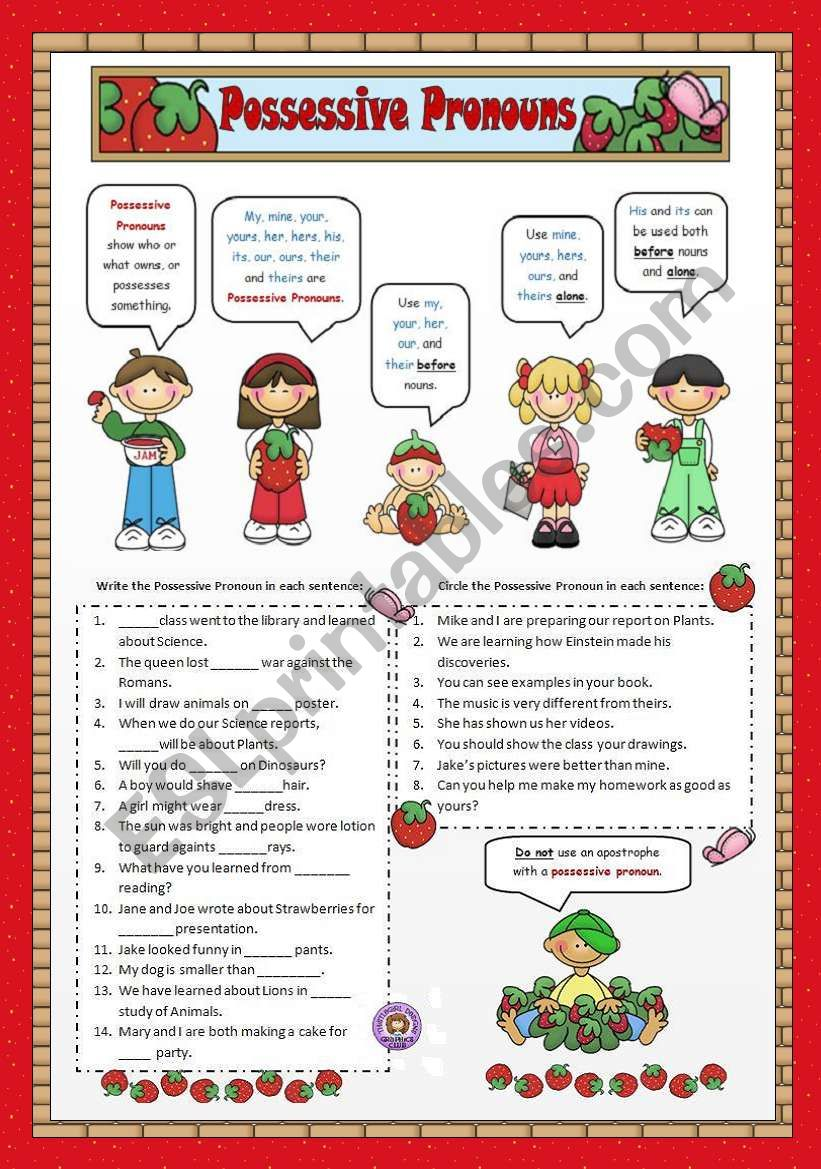 hight resolution of Possessive Pronouns - ESL worksheet by VaneV